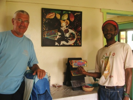 Lawry with Edmund from the Grenada Organic Chocolate Factory